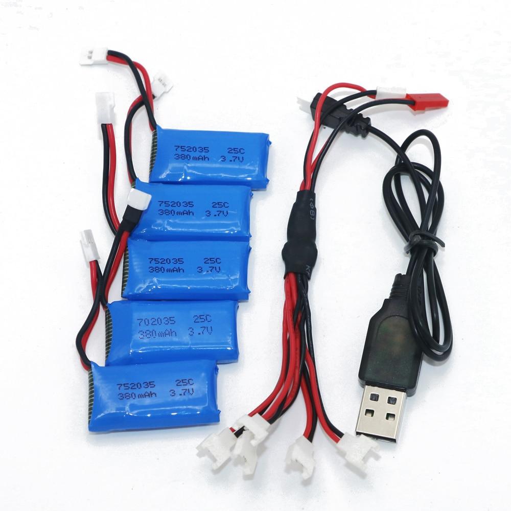 HotRc Chargeur de batterie 6 en 1 3,7 V Lipo pour Hubsan X4 H107L H107C Syma X5C
