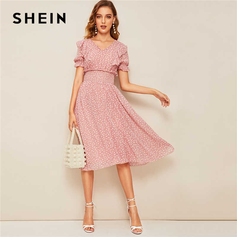 SHEIN Pink Ruffle Trim Puff Sleeve Shirred Waist Summer Boho Dress 2019 Fit and Flare Dress Women Elegant Empire Long Dresses