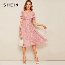 SHEIN Pembe fırfır etekli Puf Kollu Büzgülü Bel Yaz Boho Elbise 2019 Fit ve Flare Elbise Kadınlar Zarif Imparatorluk Uzun Elbiseler