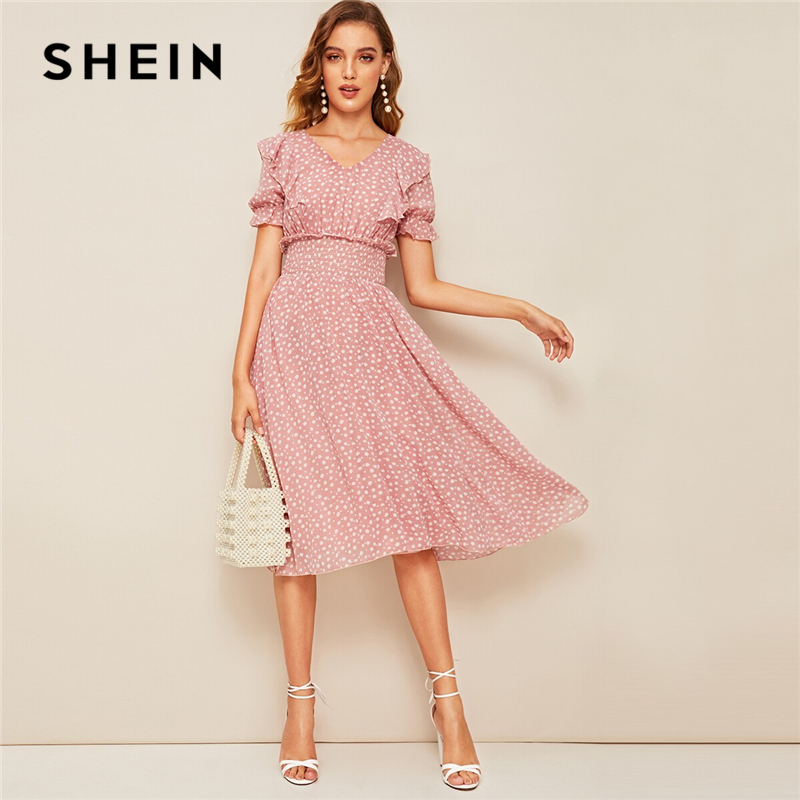 SHEIN Pink Ruffle Trim Puff Sleeve Shirred Waist Dress Women's Shein Collection