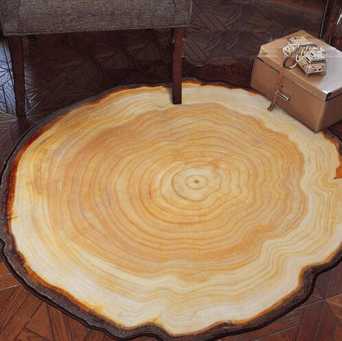 NOUVEAU Antique Bois Arbre Annuel Anneau Rond Tapis Pour Salon Chambre Étude Chaise Tapis En Peluche Tapis 60/80/90/100 CM Diamètre