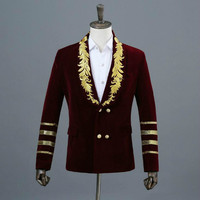 Korean version of velveteen embroidered men's suit three dimensional military dress host singer nightclub shirt photo studio pho