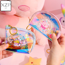 XZP New Quicksand Laser Small Bag Holographic Women PVC Coin Purses Fashion Clear Handbag Girls Card Holder For Kids