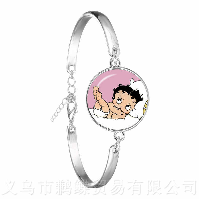 Romantic Betty Boop 18mm Glass Dome Charm Bracelet Women Jewelry Cute Betty Boop Series Pattern Bangle Accessories Xmas Gift