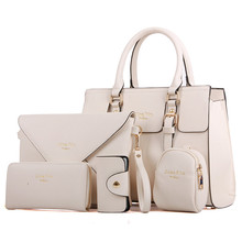 New 5 Bags per Set Women Handbags PU Leather Lady Zipper Messenger Bag Business Hot Sell Girls Bag Solid Big Volume  Bags