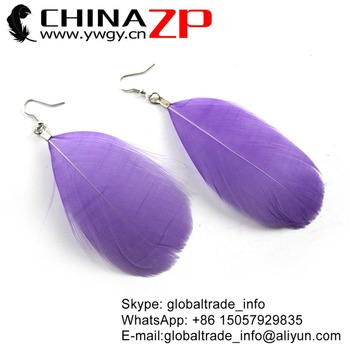 CHINAZP Factory New Arrical Dyed Lavender Goose Nagorie Feathers Drop Handmade Fashion Earrings