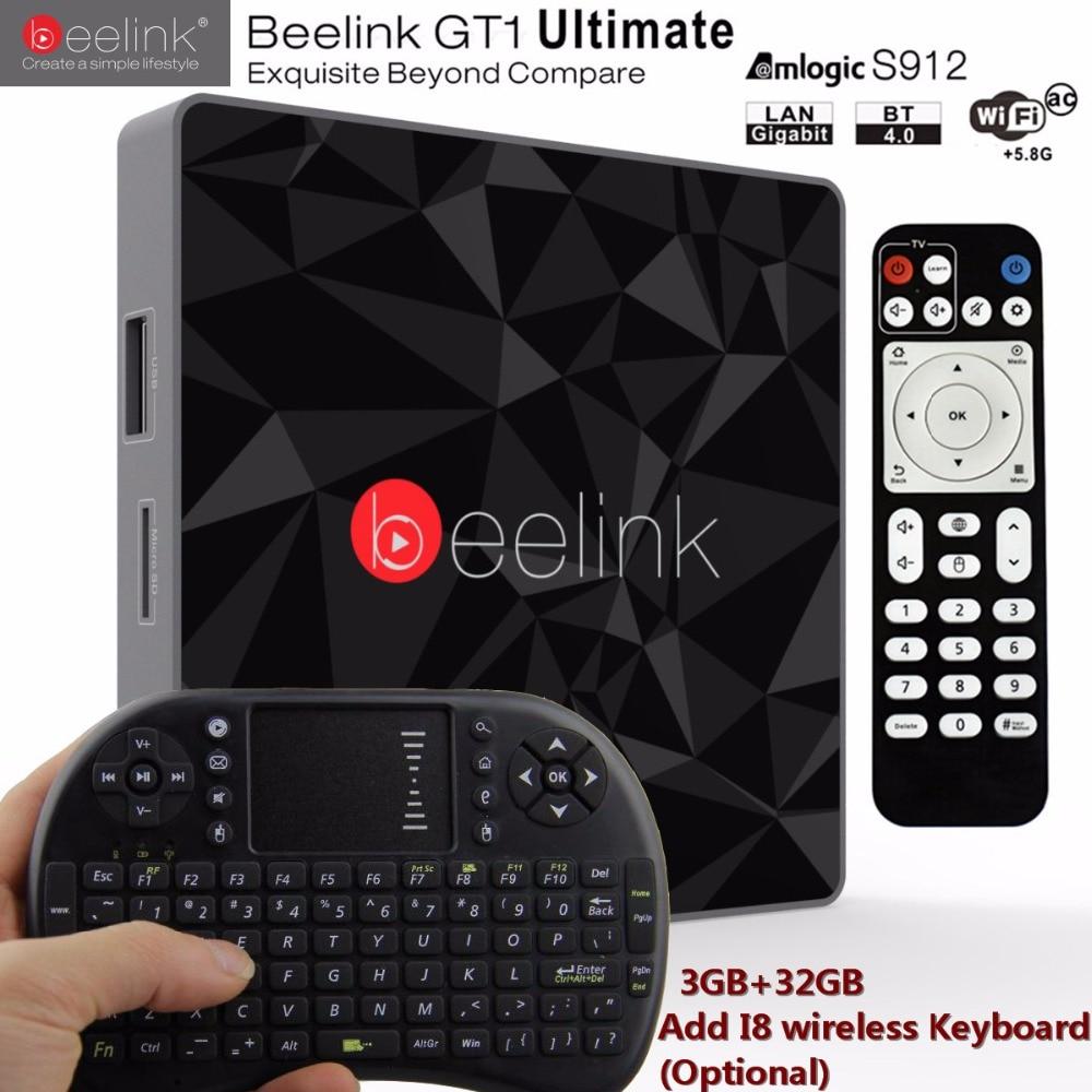 Beelink GT1 Ultimate Android 7.1 TV Box 3G RAM 32G ROM Amlogic S912 Octa Core CPU Media Player 5G WiFi BT 4.0 DLNA Set Top box