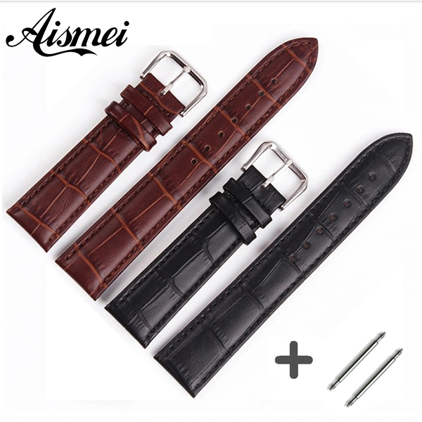 Durable Genuine Leather watch band pin buckle Bracelet S Watch Band for women and men size 12,14, 16,17,18,19,20,22,24mm durable 20 24 26 27 28 mm soft watch bands for diesel watch dz7313 dz7322 dz7257 women s men s watch straps with sliver buckle