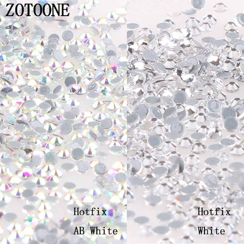 ZOTOONE SS6-SS20 Hotfix Glitter White Rhinestones and Crystal AB Flatback  Strass Naaien   Stof 128b9f019fb1