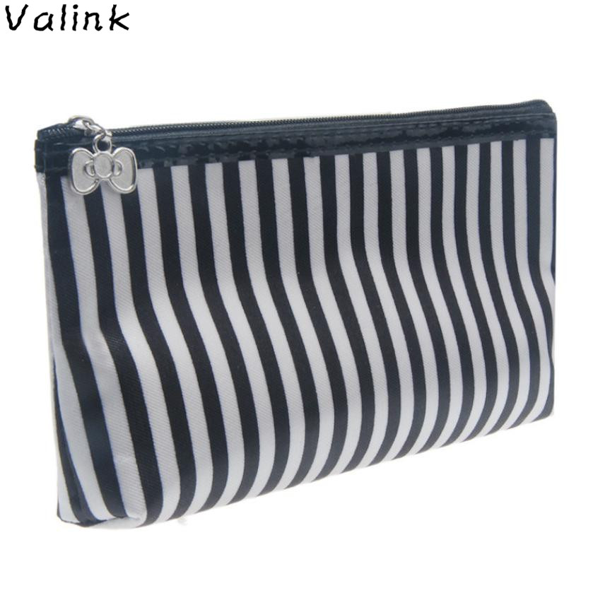 Valink Portable Cosmetic Bag Stripe Travel Organizer Toiletry Bag Storage Make Up Bag Makeup Box Neceser Maleta De Maquiagem spark storage bag portable carrying case storage box for spark drone accessories can put remote control battery and other parts
