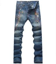 Горячие продажи Абстрактные Красочные Печати Джинсы Мода Джинсовые Синие Брюки