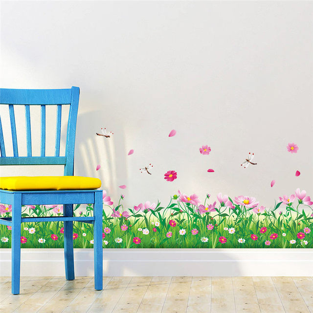 DIY Nature Colorful Flowers Grass dragonfly Wall Stickers For Living Room Bedroom Wall Decals floral TV decoration Home Decor  sc 1 st  Aliexpress & Online Shop DIY Nature Colorful Flowers Grass dragonfly Wall ...