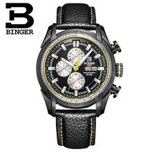 2016 Binger Man Watches Men Luxury Brand Genuine Wristwatch Leather Strap Mens Quartz Watch Male Rose