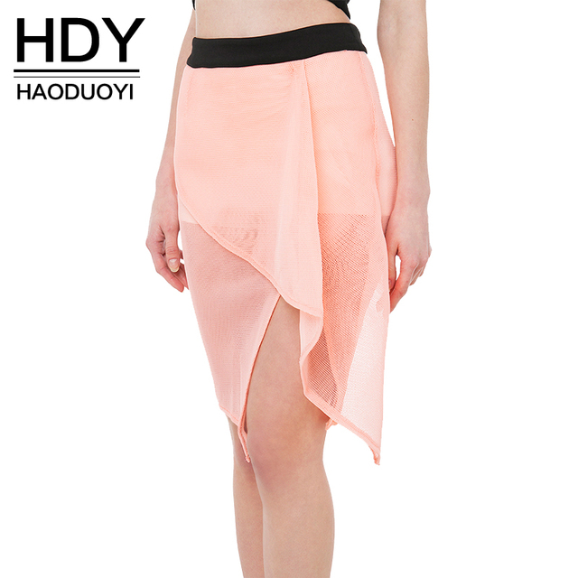 HDY Haoduoyi Solid Pink Fashion Shorts Women High Waist Asymmetric Female Zippers Shorts Slim Sheer Tulle Patchwork Shorts