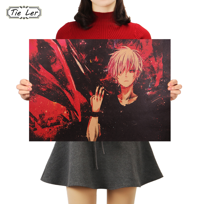TIE LER Classic Animation Tokyo Ghoul Poster Vintage Retro Kraft Paper Wall Sticker 51.5X36cm