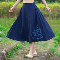 2016 Navy Blue And Arm Green Elastic High Waist Leaf Embroidery Cotton Linen Casual Long Skirt