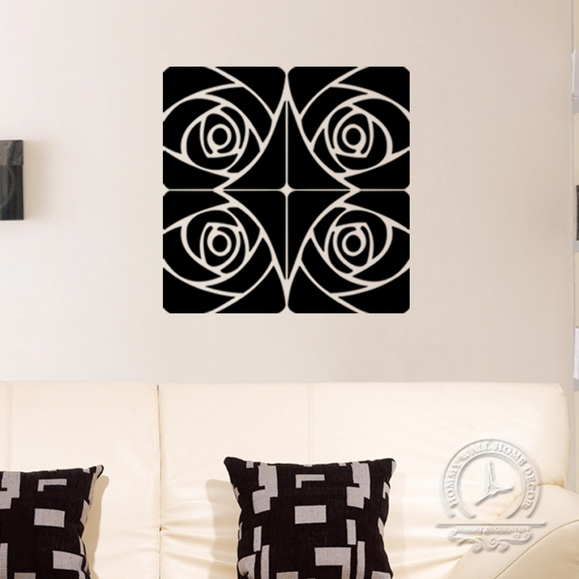 4pcs Set Acrylic Mirror Decorative Wall Sticker Size Rose Gold Silver Home Decoration Accessories