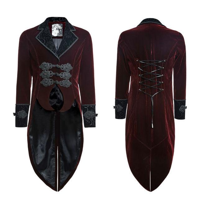 Punk Rave Red Men's steampunk gothic Vampire Jacket Coat Rock Gentle Tailcoat