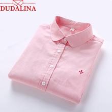 Dudalina Embroidery Female Shirts Lady 2018 New Fashion Lady 100% Cotton Women Long Sleeve Tops Fashion feminina Size S-3XL