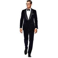 Moda Smoking Dello Sposo uomo Usura Velluto Nero 2017 nuovi Abiti Da Sposa  Per Uomo 2 Peices mens giacca e Cravatta (Jacket + Pa. be8b55cb0d3