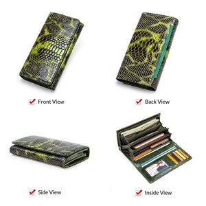 Image 4 - Monedero con diseño de serpiente a la moda para mujer, billetera larga de cuero genuino para mujer, monederos para teléfono para niña, tarjetero, bolso de mano tipo monedero