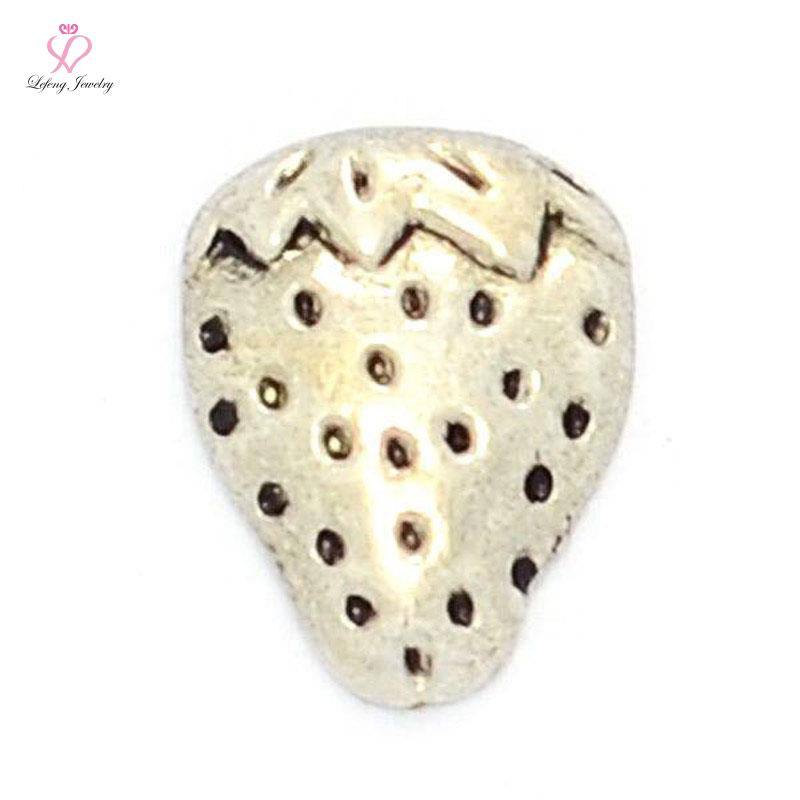 Wholesale Cute Silver STRAWBERRY floating charms for living glass lockets FC373