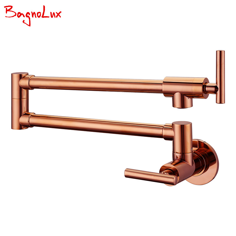 Bagnolux Wholesale Solid Brass Kitchen Wall Mount Pot Filler Faucet Swivel Spout Cold Water Only With Dual Swing Rose Gold Tap
