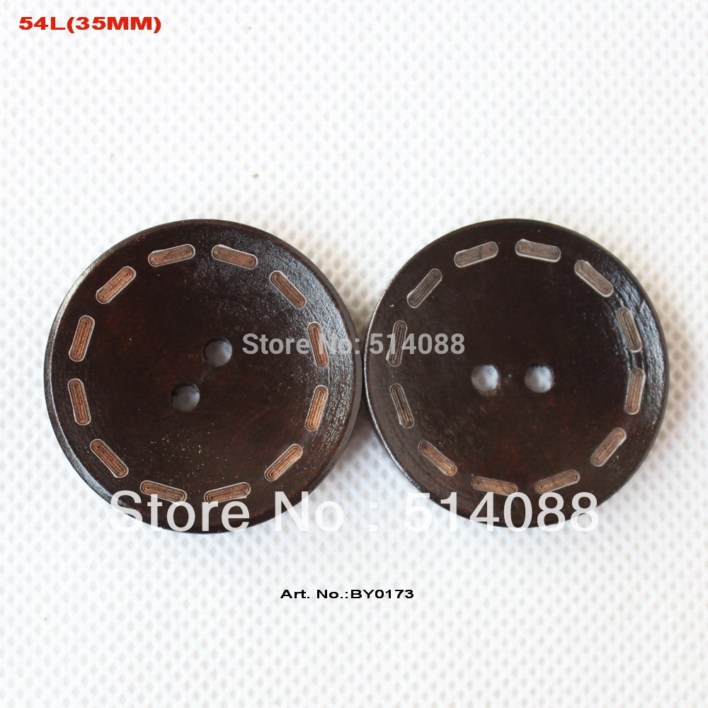 Wooden circles for crafts -  50pcs Lot 35mm 2 Holes Circle Engraving Dark Brown Vanish Wood Sew Buttons Bulk Scarfs Hat Craft 1 4 By0173