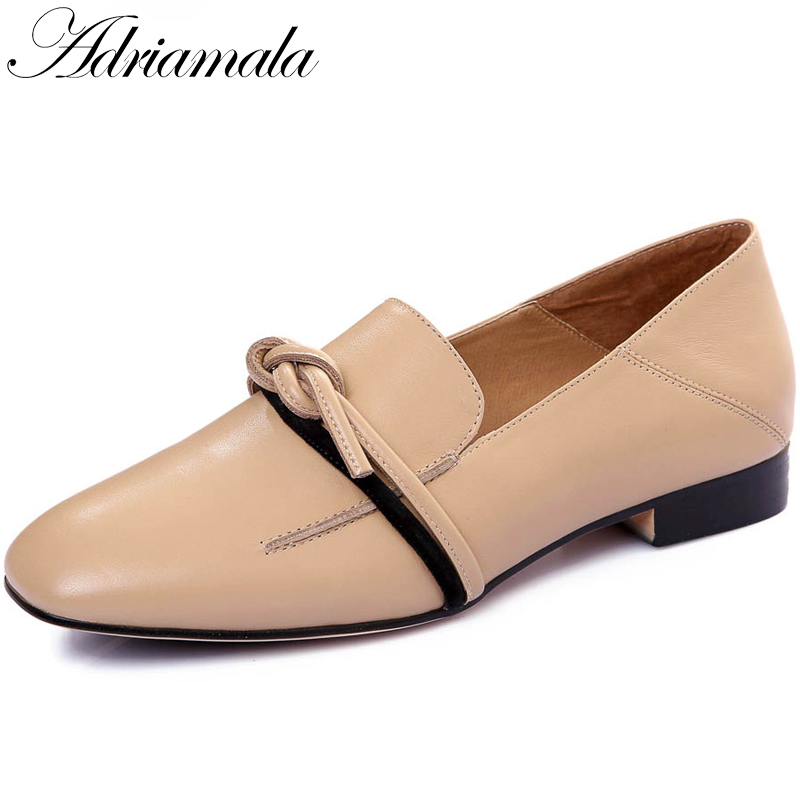 2018 Spring Low Heels Office Lady Mules Shoes Cow Leather Square Toe Slip-on Fashion Office & Career Women Shoes Adriamala fashion brand shoes buckle high heels slip on casual square toe solid women pumps spring office lady mature wedding shoes l70
