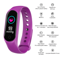 Smart Bracelet M3S Color Screen IP67 fitness Tracker Blood Pressure Heart Rate Monitor Smart Watch For Android IOS Phone Purple