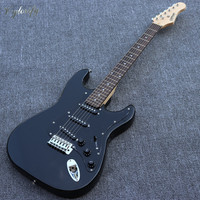 black color 6 string electric guitar with pickups, rosewood fretboard, factory special offer