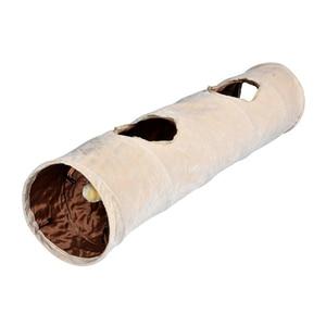 Image 1 - Lange Pet Tunnel Hohe Qualität 120 cm 2 Löcher Faltbare Katze Welpen Kaninchen Teaser Lustige Verstecken Tunnel Spielzeug Ball Faltbare katze Tunnel