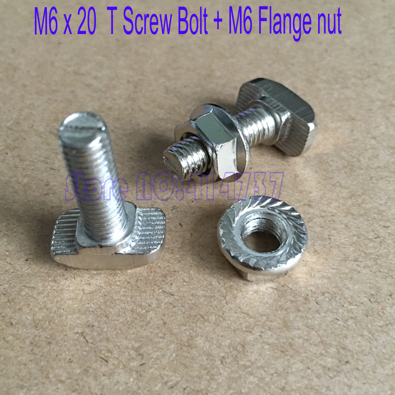 20sets 3030 aluminium profile t bolt with flange nut set m6 x 20 t screw bolt m6 flange nut. Black Bedroom Furniture Sets. Home Design Ideas