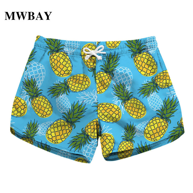 ff380aebeb MWBAY Womens Shorts Summer Clothing Pineapple Printing Fashion Holiday  Quick Dry New 2018 Swimwear Short Pants
