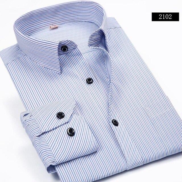 Плюс 5XL 6XL Осень Новый 2016 Мужчин Полосатые Рубашки формальное Мода С Длинным Рукавом Марка Бизнес Мужчины Повседневная Футболки Регулярный Fit