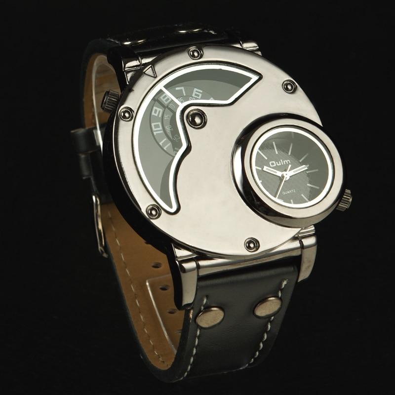 Original Top Luxus OULM Uhren Neue Russische Aviator Pilot Armee Militär Quarz Herren Armbanduhr Dual time black leder Relogio