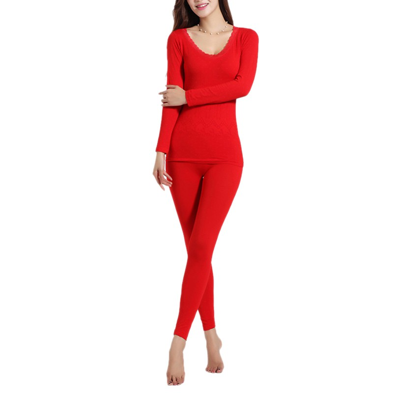 Autumn Winter Women O Neck Lace Nightgown Female Thermal Underwear FemalePajamas Suit Underwear Women Thermos Lingerie Intimate