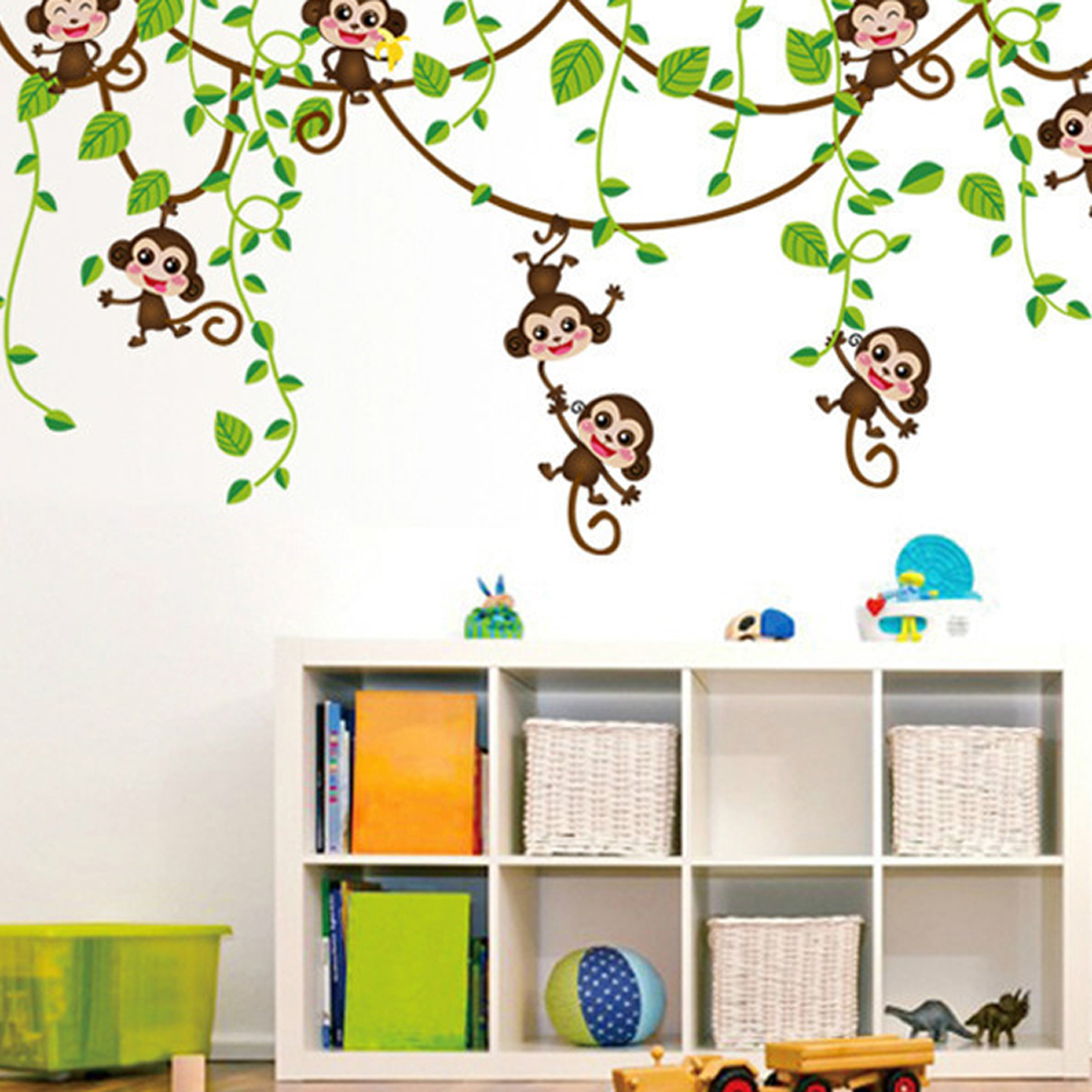 Diy wall stickers home decor monkey climbing tree decals for Pegatinas de pared ikea