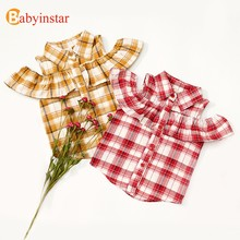 Babyinstar Kids Strapless Ruffles Blouses & Shirts For Girls Summer Plaid Blouses For Girls New Fashionable Baby Girls Clothes(China)