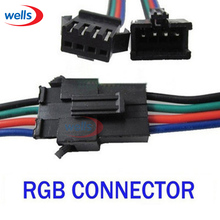 100 pcs 4pin JST Male Female Connector Cable Wire WS2801 LPD8806 RGB LED Strip цена и фото
