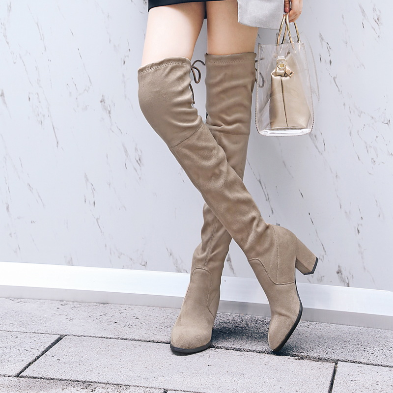 Faux Suede Slim Boots Sexy Over The Knee High Women Snow Boots Women's Fashion Winter Thigh High Thick Heels Boots Shoes Woman ppnu woman winter nubuck genuine leather over the knee snow boots women fashion womens suede thigh high boots ladies shoes flats