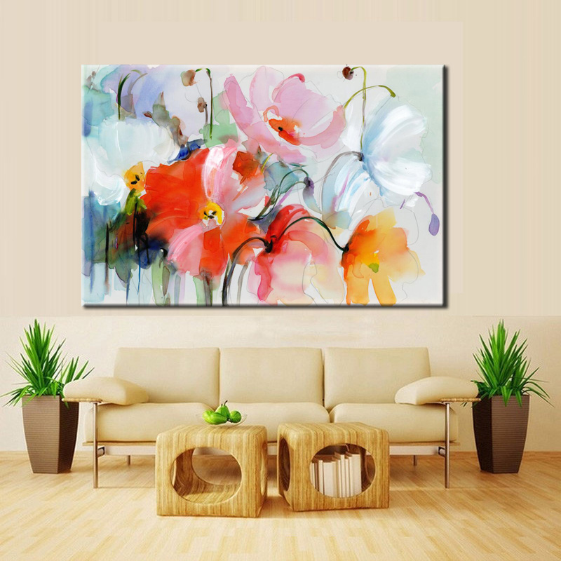 HTB1.spOk1uSBuNjSsplq6ze8pXab Modern Watercolor Flowers Wall Painting Hand Painted Poppy Flowers Print on Canvas Wall Picture For Living Room Home Decor Gift