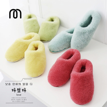 Millffy couple lovers winter fur slippers men & women wool off-white sheepskin fur flip flop slipper sandals womens