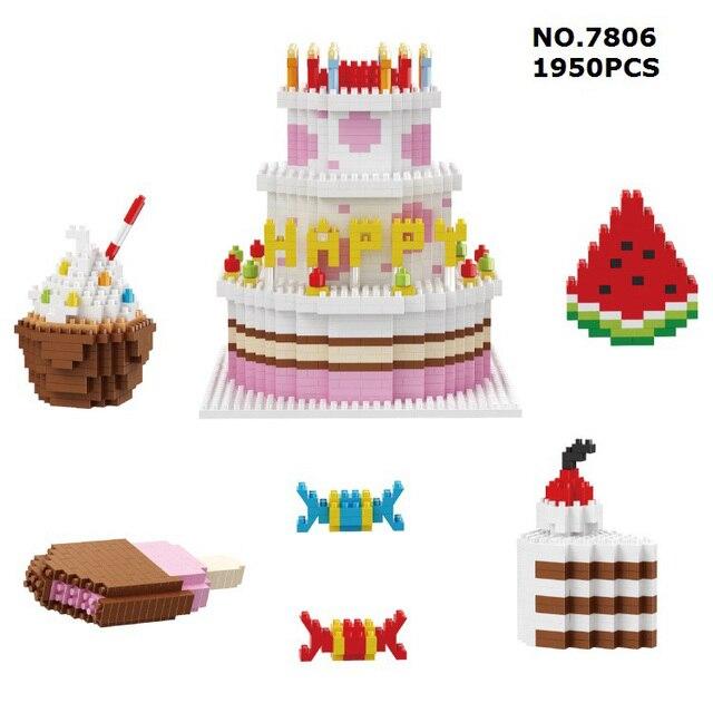 Funny Happy Birthday Cake Set Meal Micro Diamond Building Block Candy Ice Cream Watermelon Nanoblock Assemble