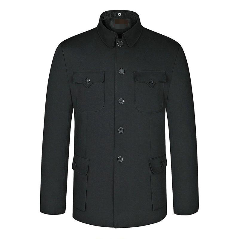 Personality Spring Chinese Ethnic Mens Black Mao Suit Jacket Mandarin Wing Collar Blazer Tunic Suit Elegant Zhongshan Coat Man