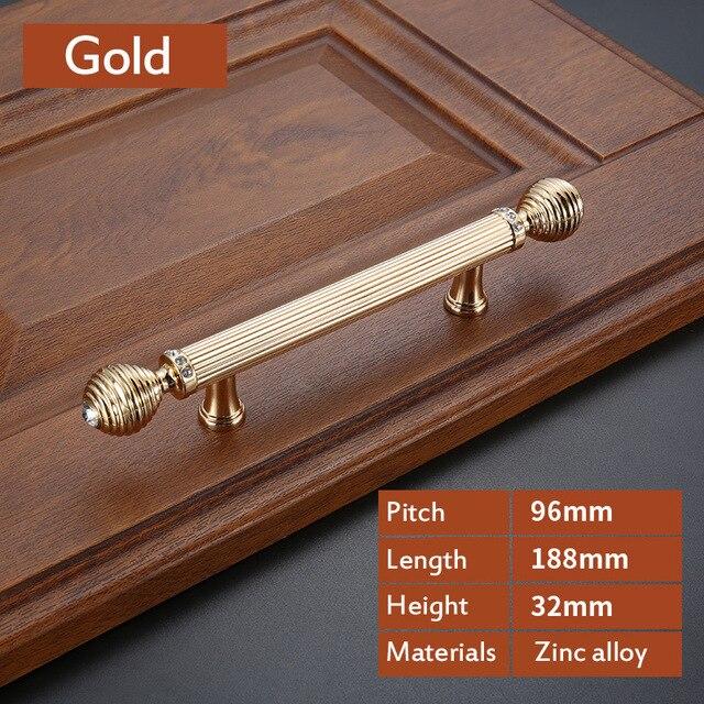 Роскошный Золотой цинковый сплав ручки ящика шкафа Европейский шкаф Мебельная ручка с винтом - Цвет: CRY0046-96
