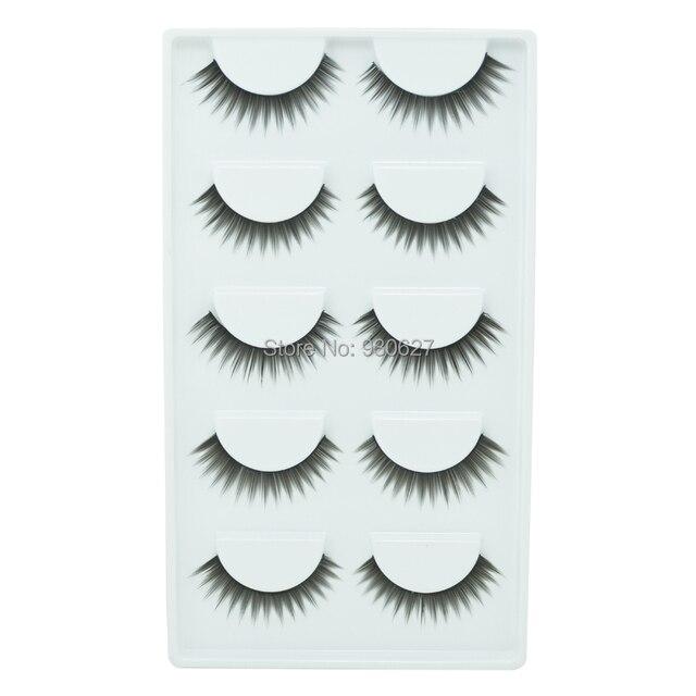 Best Seller 5pairs Brand Black False Eyelashes Human Hair Fake