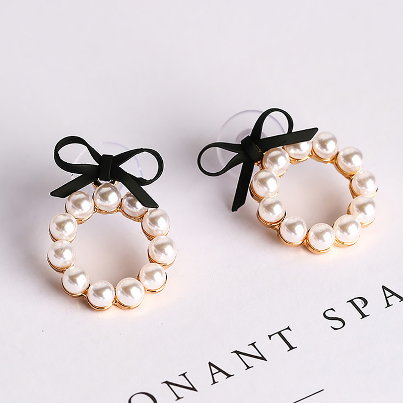 Lovely Colourful Bow Earrings Geometry Circle Simulated Pearl Stud Earrings For Women