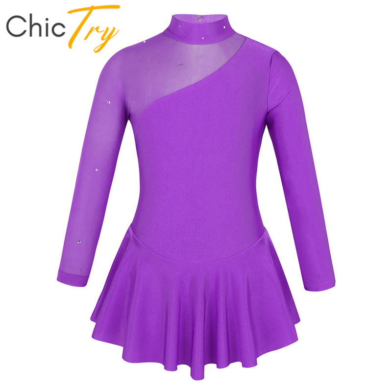 ChicTry Kids Girls Tulle Long Sleeves Rhinestone Figure Ice Skating Dress Ballroom Child Gymnastics Leotard Ballet Dance Costume