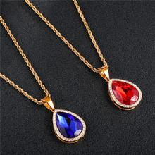 цена на Unisex Water Drop Shape Hip Hop Iced Out Chain Necklace Rhinestone Red Crystal Pendants & Necklaces For Women Men Jewelry